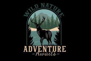 aventura na natureza selvagem aguarda ilustração design vetor