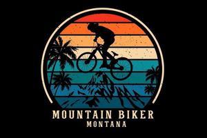 desenho da silhueta do mountain bike montana vetor