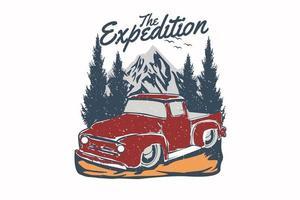 a expedição vintage mão desenhada ilustração design vetor