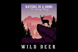 a natureza é um lar para as coisas vivas ilustração da silhueta design plano vetor