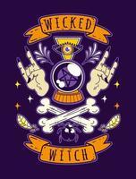 ilustração vetorial bruxa malvada de halloween vetor