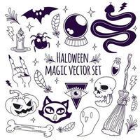 conjunto de vetores de magia do dia das bruxas doodle
