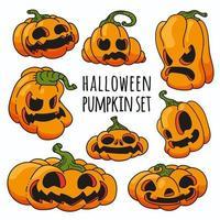 conjunto de vetores de abóbora de halloween