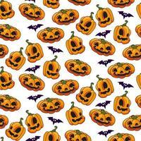 vetor de padrão sem emenda de abóbora de halloween