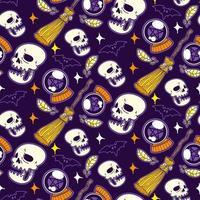 vetor de padrão sem emenda de halloween, vassoura e crânio