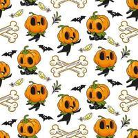 jack o lantern halloween padrão sem emenda vetor