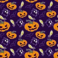 Vetor de padrão sem emenda de abóbora de halloween, abóbora, pena e bug