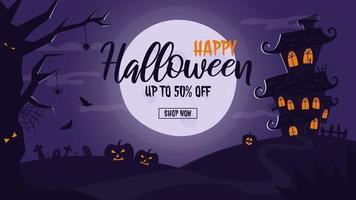 modelo de banner de venda de halloween com casa mal-assombrada e lua cheia vetor