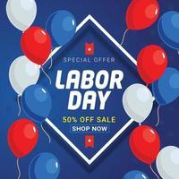 promoção de modelo de banner de venda do dia do trabalho vetor
