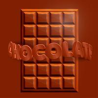 Barra de chocolate realista 3D com texto 3D 'CHOCOLATE', vetor