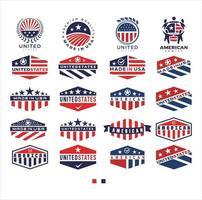 grande conjunto de design de logotipo dos Estados Unidos. made in USA logo bandeira americana vetor