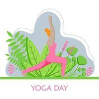 mulher está praticando ioga. ilustração em vetor plana