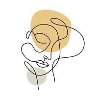 pôster abstrato com rosto de mulher mínimo rosto de mulher abstrato uma linha vetor