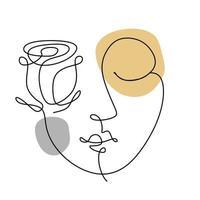 desenho de linha de rosto de mulher abstrata vetor