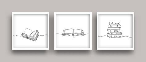 reserve um conjunto de desenho de linha. mão contínua minimalista desenhada. vetor