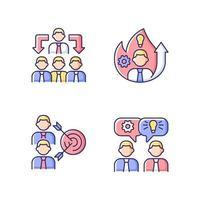 trabalhando juntos conjunto de ícones de cores rgb vetor