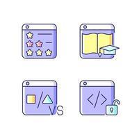 conjunto de ícones de cores rgb de presença on-line de negócios vetor