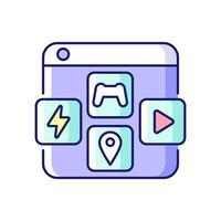 ícone de cores rgb de plataformas de distribuição de aplicativos vetor