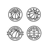 ilustração de design de linha de logotipo de basquete coleção vetor