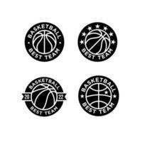 conjunto de ilustração de design de logotipo preto de basquete vetor