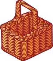 cesta de piquenique de vime vetor
