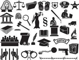 conjunto de ícones de lei e justiça vetor