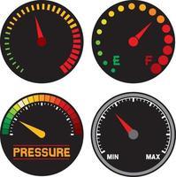 ícones do velocímetro do painel do carro vetor