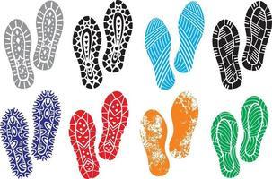 coleção de sapatos com sola impressa vetor