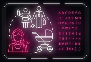 ícone do conceito de luz neon de desigualdade familiar vetor