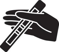 ícone de glifo preto de teste positivo vetor