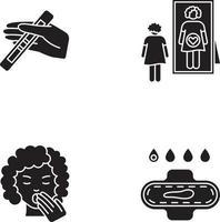 Ícones de glifo preto de sintoma de gravidez precoce definidos no espaço em branco vetor
