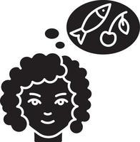 ícone de glifo preto de desejo por comida vetor
