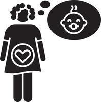 sensação de gravidez ícone de glifo preto vetor