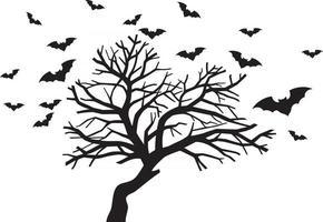 árvore assustadora e morcegos vetor