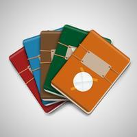 Cinco cadernos coloridos diferentes