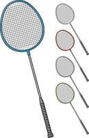 conjunto de raquete de badminton vetor
