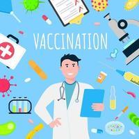 cartaz de design de estilo plano de conceito de bandeira de vacinação. vetor