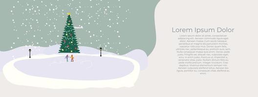 cartão de feliz natal e feliz ano novo com a pequena cidade vetor