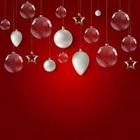 cartaz de feliz Natal e feliz ano novo com bolas de vidro brilhantes. vetor