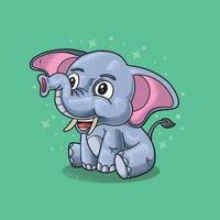 elefantinho fofo sentado e sorrindo vetor