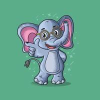 elefante inteligente bonito apontando ilustração vetorial estilo grunge vetor