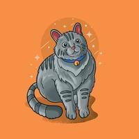 gato preguiçoso sentado ilustração vetorial grunge vetor