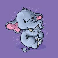 elefantinho fofo sorrindo ilustração vetorial estilo grunge vetor