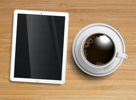 Uma xícara de café com um tablet, vetor