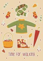 roupas de outono para caminhar na floresta ou parque vetor