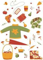 coleção de itens de desenho animado relacionados ao outono vetor