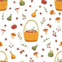 padrão de outono sem costura com cogumelos e frutas vetor