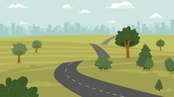 ilustração vetorial de campo, colina, cidade e estrada vetor