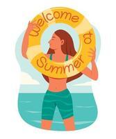 mulher segura o anel inflável com palavras de boas-vindas ao verão. vetor