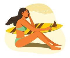 mulher aproveitar o estilo de vida de verão na praia com a prancha de surf. vetor